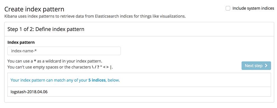 Create index pattern step 1