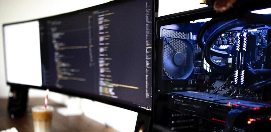 Bildschirm und Innenleben PC