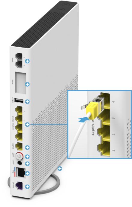 Swisscom Internet-Box 3 - Rückseite 1.0 Gbit/s Ethernet-Anschlüsse