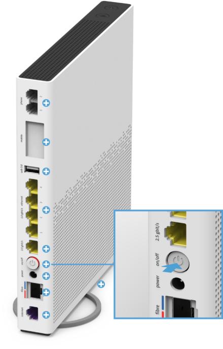 Swisscom Internet-Box 3 - Rückseite on/off Knopf