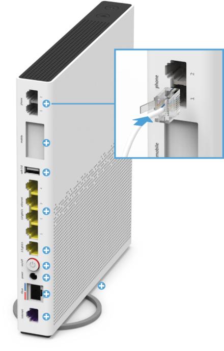 Swisscom Internet-Box 3 - Rückseite Telefonanschlüsse