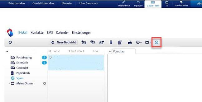 Spam melden im Webmail