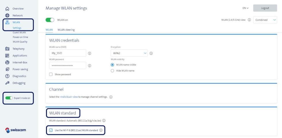 Screenshot Manage WLAN settings