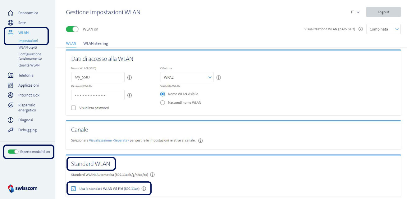 Screenshot WLAN Einstellungen
