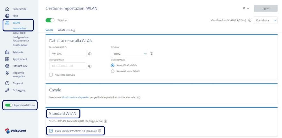 Screenshot Gestione impostazioni WLAN