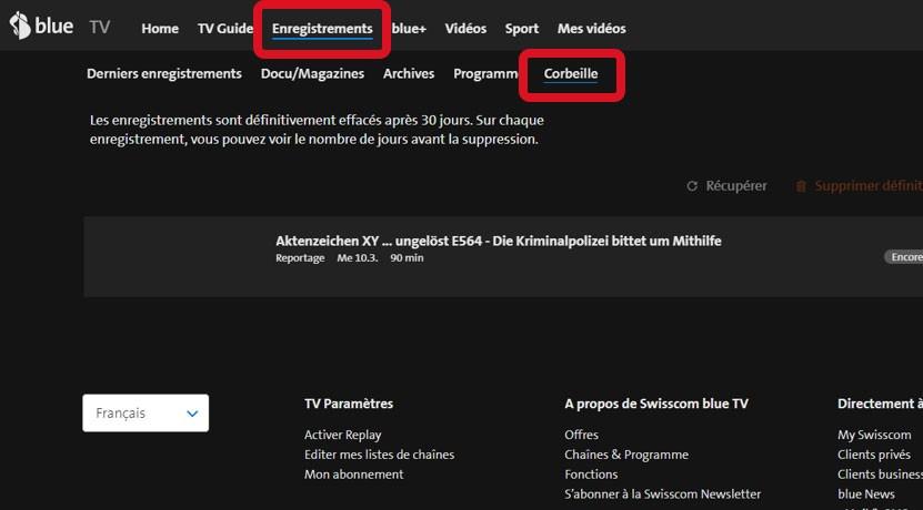 Étape 2 Restaurer l'enregistrement de la blue TV Box HD