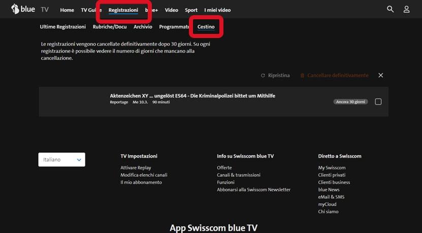 Paso 2 Ripristinare la registrazione blue TV Box HD