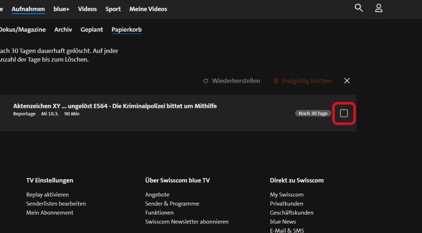Schritt 3 Aufnahme wiederherstellen blue TV Box HD