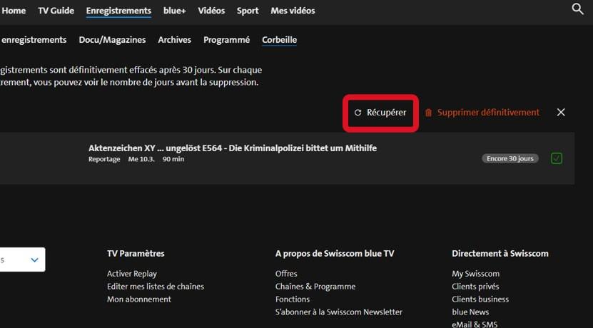 Étape 4 Restaurer l'enregistrement de la blue TV Box HD