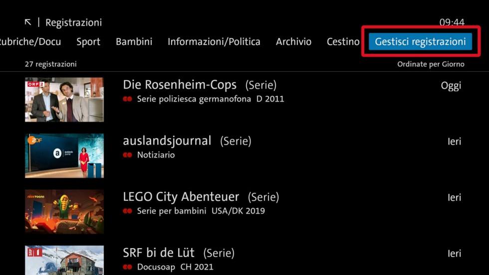 Paso 1 Ripristinare la registrazione blue TV Box UHD e Swisscom Box