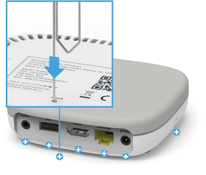 Swisscom Box - Rückseite Reset