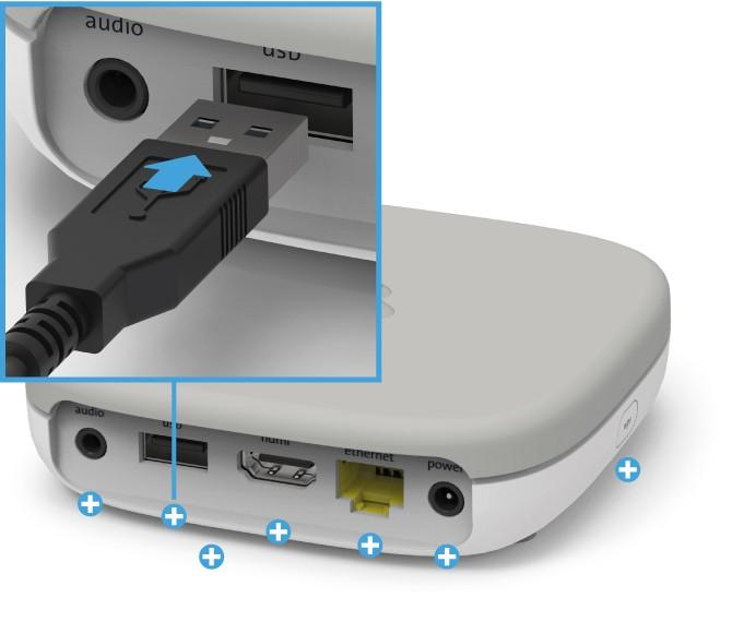 Swisscom Box - Rückseite USB-Anschluss