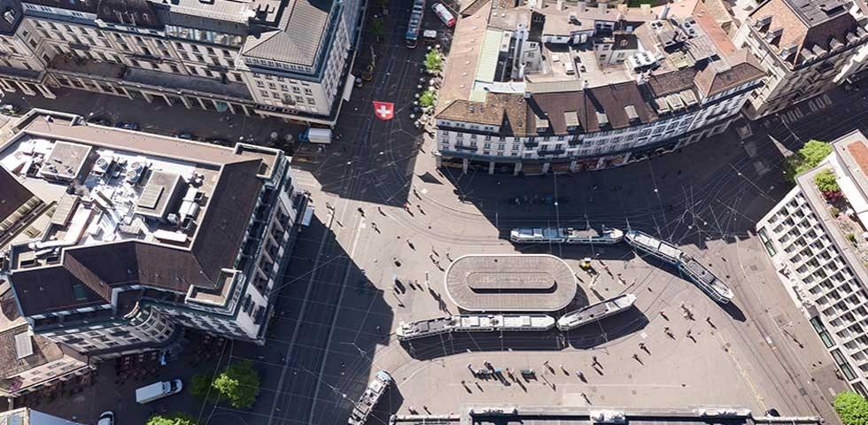 Paradeplatz aus Vogelperspektive