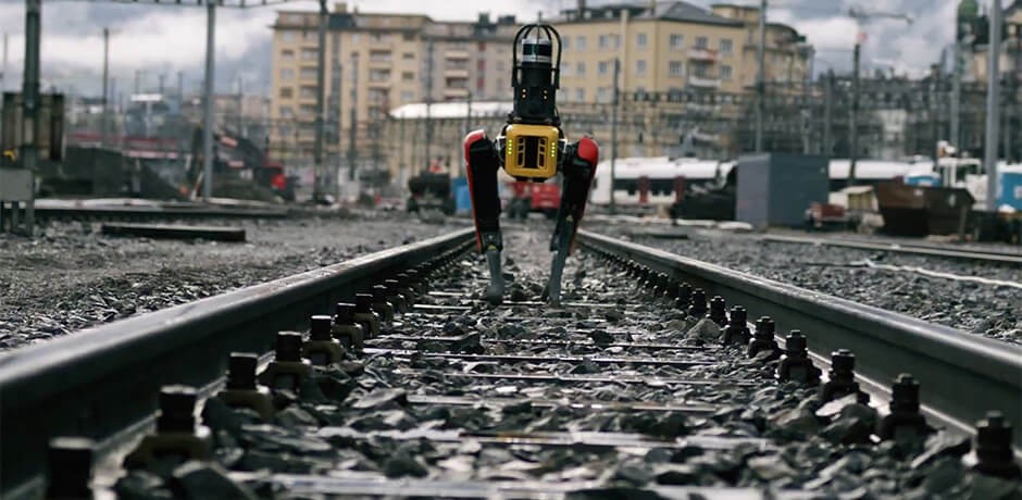 Photo shows Spot, the robot dog, inspecting the train tracks for Rhomberg Sersa.