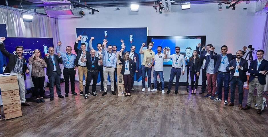 Die Gewinner der Startup-Challenge mit Roger Wüthrich-Hasenböhler und Philippe Vuilleumier