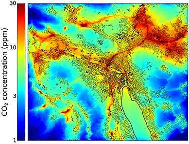 Concentration de CO2 dans la ville de Zurich. Source: EMPA