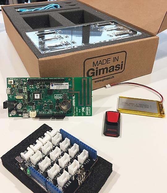Das «LPN Maker's Kit» mit Entwicklungsboard, Sensoren und allem nötigen Zubehör zum Einstieg in die Welt von LoRaWAN