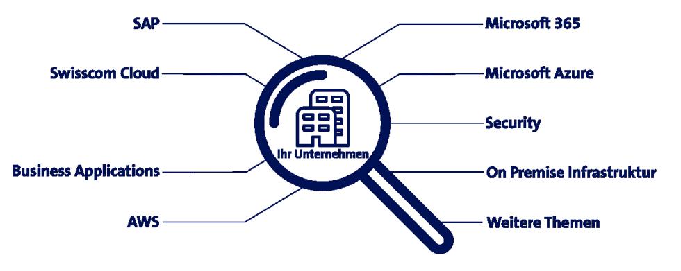 Übersicht der IT-Themen, in denen Swisscom Experten Unternehmen mit Professional Services unterstützen.