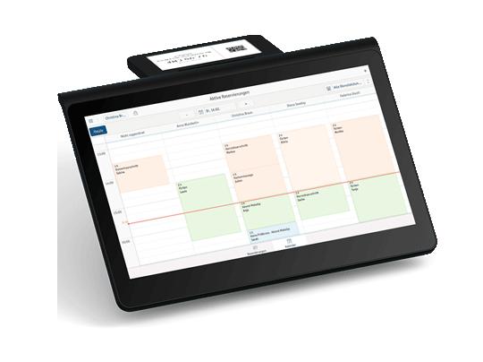 Un écran montre le planning des équipes dans le système de caisse électronique