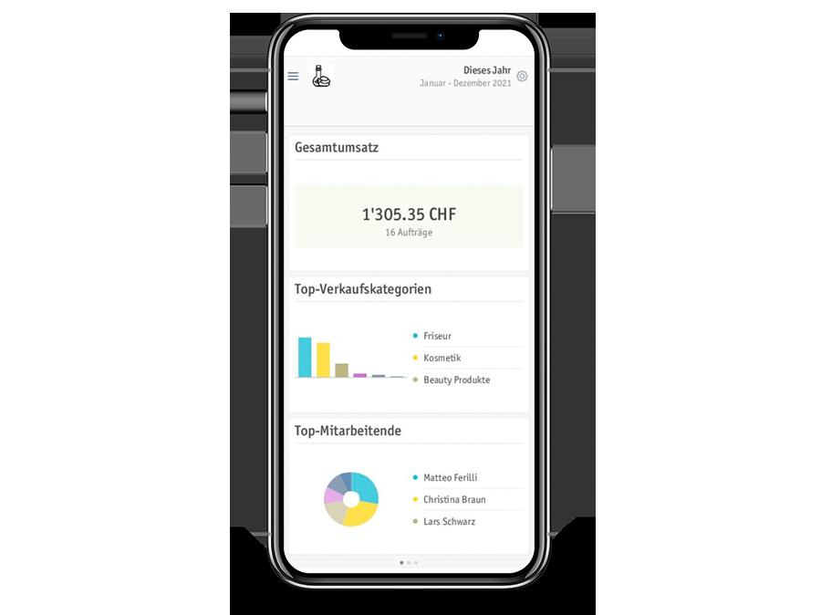 Un smartphone montre les statistiques issues du système de caisse électronique