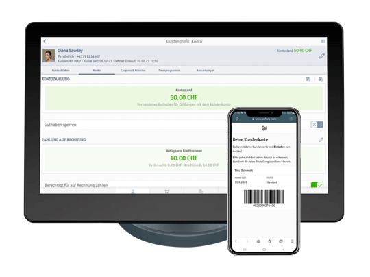 Smartphone mit Kundenkarte und Kassensystem mit Treueprogramm