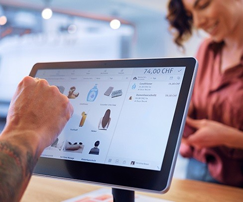 POS system on a tablet for the point of sale from Swisscom