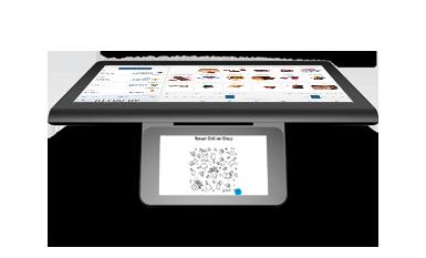 Elektronische Registrierkasse enforeDasher mit Touchscreen steht auf der Theke