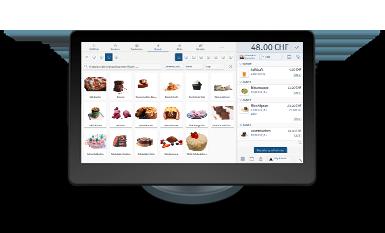 Elektronische Registrierkasse enforeComet mit Touchscreen steht auf der Theke