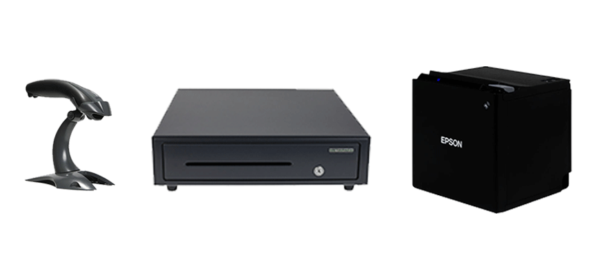 Scanner, cash drawer and receipt printer as accessories