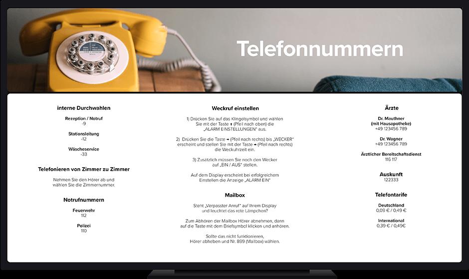 detailbildschirm heim, wichtigste telefonnummern