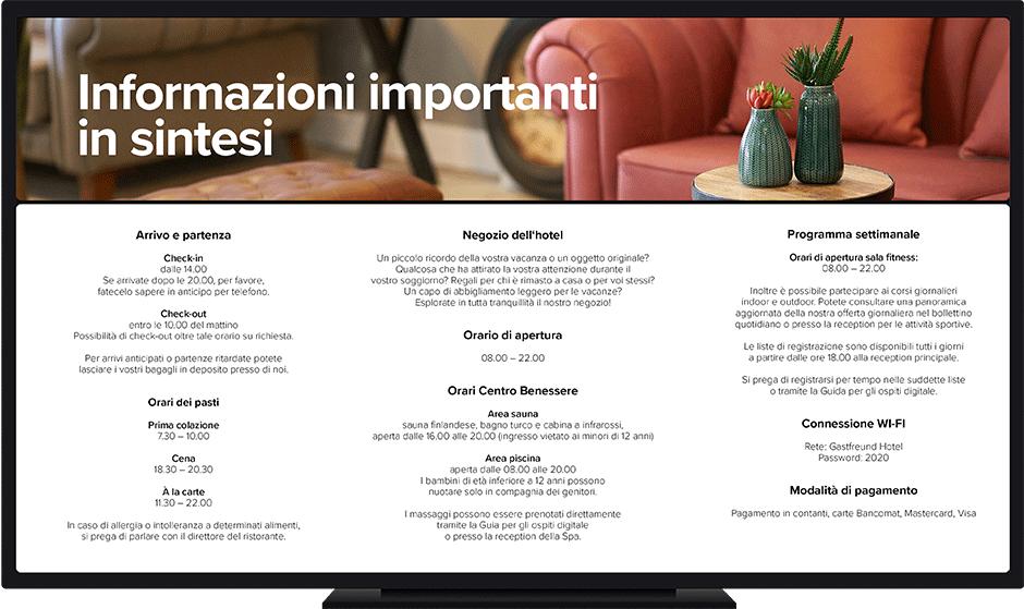 dettaglio schermo hotel informazioni importanti
