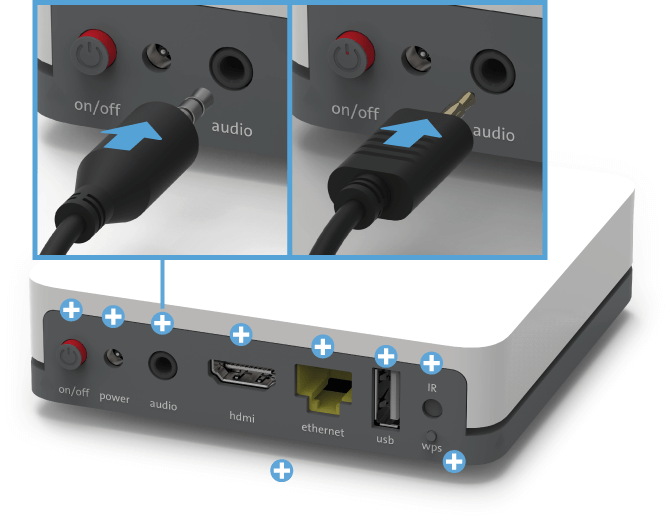 Swisscom TV Box (UHD) - Rückseite Mini TOSLINK / Klikenstecker