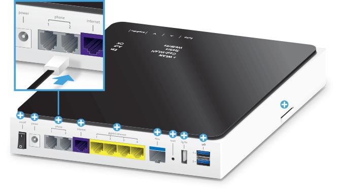 Swisscom Internet-Box plus - Rückseite Telefonanschlüsse