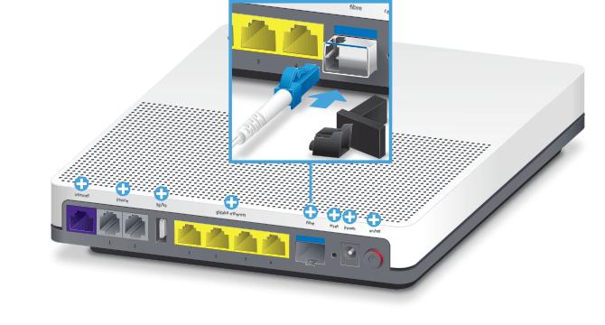 Swisscom Internet-Box standard - Rückseite Glasfaser-Anschluss