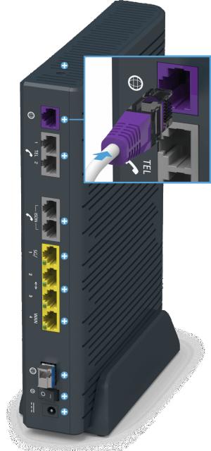 Swisscom Centro Business 2.0 - Rückseite DSL Internet Buchse