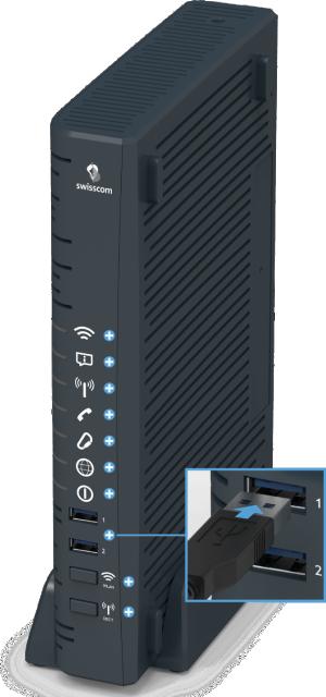 Swisscom Centro Business 2.0 - Vorderseite USB 3.0-Anschlüsse