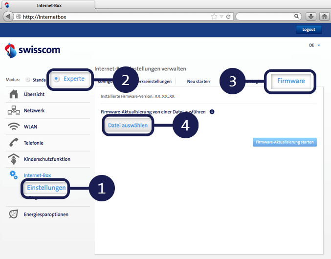 Anleitung Firmware Aktualisierung Internet Box light