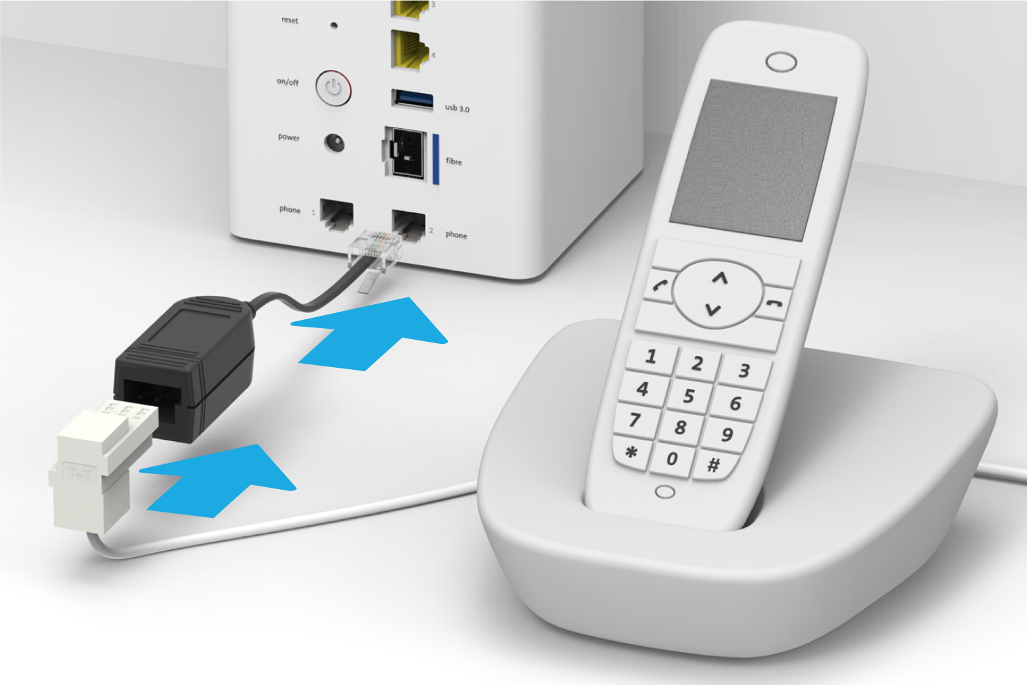 Connecting the existing landline telephone
