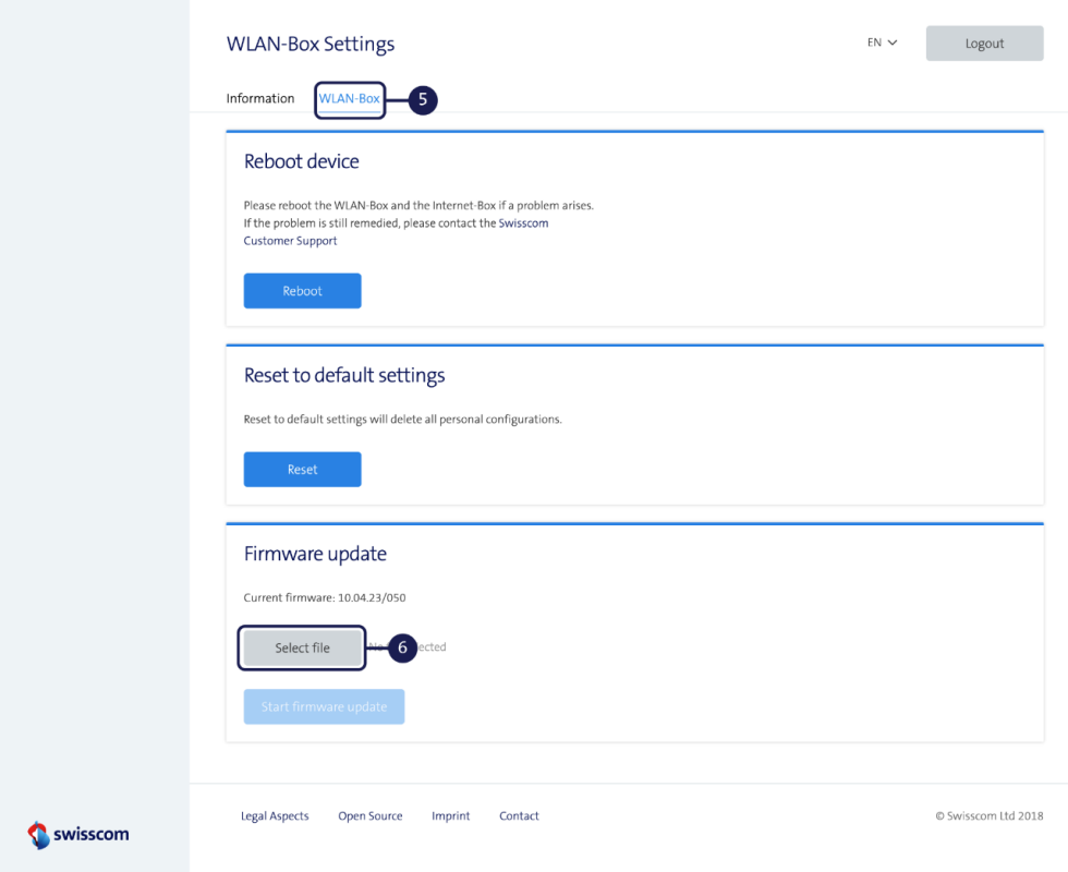 Updating firmware - WLAN-Box 2
