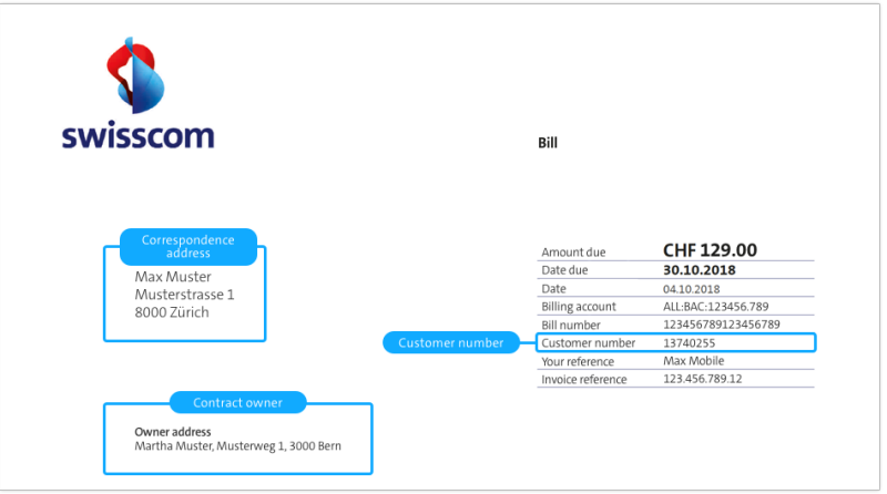 The customer number can be found on the right side of your swisscom invoice.
