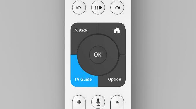 """Swisscom blue TV remote control button """"guide"""""""
