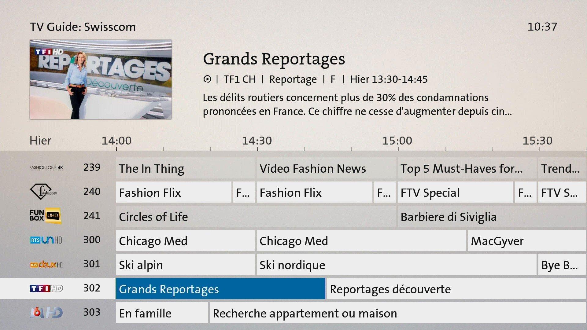 tv replay chaine 14