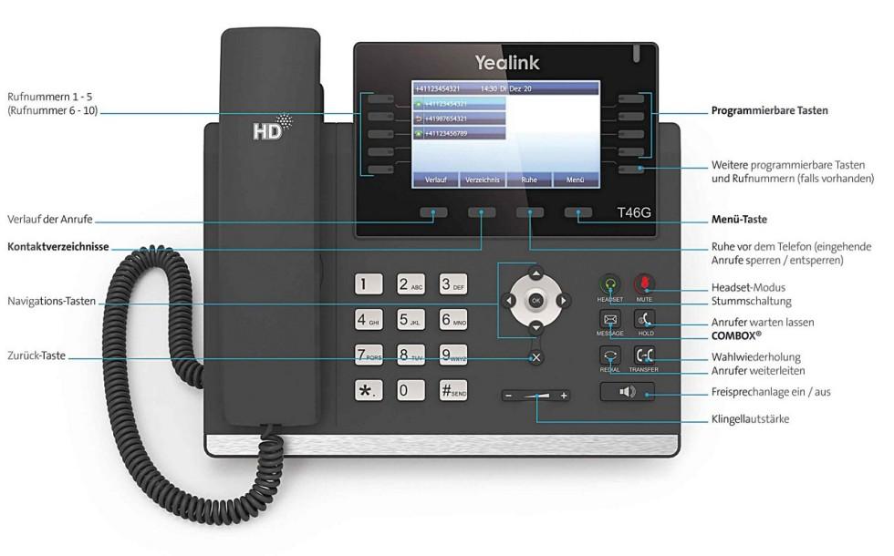 Swisscom HD-Phone Yealink T46G: Tasten und Funktionen