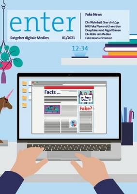 Illustration eines Laptops und zwei Händen, die auf der Tastatur liegen.