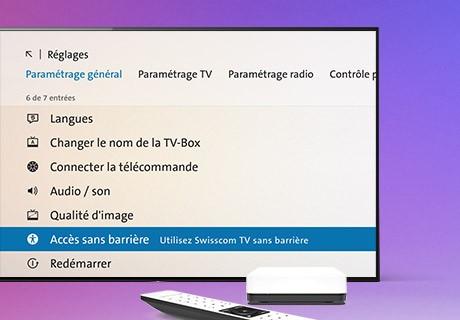 Paramètres d'accessibilité Swisscom TV